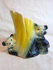 "Black Bear Planter 5"" Vintage 1950s Art Pottery Tree Stump Two Cubs"