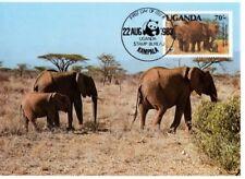 WWF African Elephants Maxi Postcard FDC Uganda 1983 FREE SHIPPING