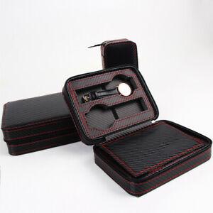 8/4/2 Slots Watch Box Travel Case Leather Storage Case Pouch Carbon Fiber Zipper