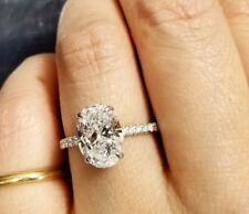 1.50ctw Natural Oval Cut Hidden Halo Pave Diamond Engagement Ring