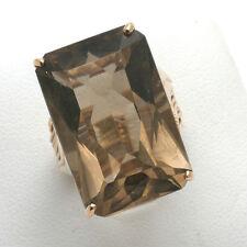 VIntage Rose gold Topaz ring 30 carat Emerald Cut 1940's Antique large 14k
