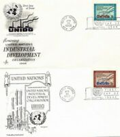 UNITED NATIONS 1968 INDUSTRIAL DEVELOPMENT on 2 FIRST DAY COVERS