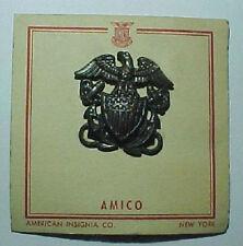 WW2 USN USMC *Amico* Medical Officer Hat Badge on Card