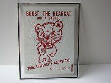 Vtg 1980s Retro University of Cincinnati Bookstore Bearcat Logo Mascot Image Bag