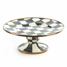 MacKenzie-Childs Courtly Check Enamel Pedestal Platter - Small