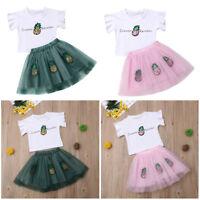 Toddler Kids Baby Girls Outfits Clothes T-shirt Tops + Tutu Dress Skirt 2Pcs Set