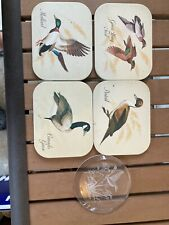 Vintage Drink Coasters Mallard Green Wing Teal Pintail Canada Goose