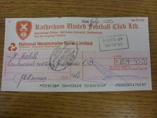 22/07/1983 Rotherham United: Official Club Cheque - payable to Bobby Mitchell. F