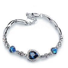 Fashion Love Heart Austrian Crystal Rhinestone Ocean Blue Bangle Bracelet