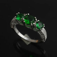 6mm Round Cut Three Stone Green Emerald 925 Solid Silver Engagement Ring 6