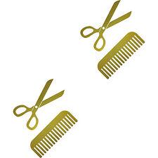 4 Tattoo Sticker 15cm Gold Scissors Comb Car Window Film Hairdresser Hair Salon