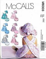 MCCALL'S SEWING PATTERN 6303 BABY S-XL DRESSES CRISS-CROSS BACK, NAPPY COVER HAT