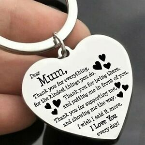 Mum Mother Keyring Keychain Mothers Day Gift Xmas Birthday for Women Love Heart
