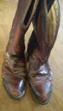 Cowboy boots made in Mexico burgundy wine EEL skin leather SIZE 7 8 distressed
