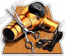 "Hair Cut Salon Stylist Beauty Barber Dryer Car Bumper Vinyl Sticker Decal 4""X5"""