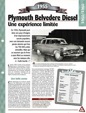 VOITURE PLYMOUTH BELVEDERE DIESEL FICHE TECHNIQUE AUTOMOBILE 1955 COLLECTION CAR