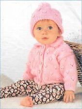 "Vintage Baby Knitting Pattern, Cardigan and Hat,16-22"", Newborn - 2 yrs, DK"