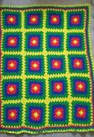 "Vintage Retro Afghan Handmade Crochet Throw Lap Blanket Granny Square 36"" x 48"""
