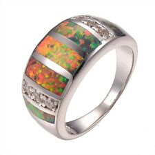 Orange Fire Opal Silver Gold Filled Big Ring Size 8 R1337