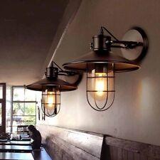 Indoor/Outdoor Black Industrial Wall Glass Cage Shade Porch Lamp Bathroom E27 oz
