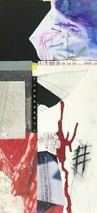 ON THE TARMAC - Medium Red White Black Collage Painting by Steven Tannenbaum