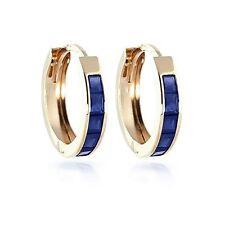 1.3CT Zafiro Azul Redondo Gema Pendientes Sólido 14K Oro Amarillo Tuerca