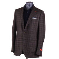 NWT $3895 ISAIA Brown and Purple Check Cashmere-Silk Sport Coat 38 R (Eu 48)