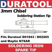 3mm Chisel Soldering Iron Tip Duratool D01843 D02265 Maplin N78AR D01843-C1-3