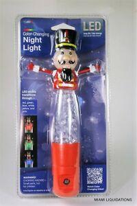 "Color-Changing LED Night Light w/ Sensor Nutcracker Jasco 11482 8"" Holiday Xmas"
