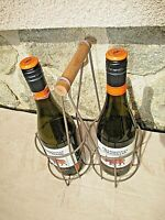 RARE- ancien casier en métal pour deux bouteilles de vin-bar-collectivité-pub