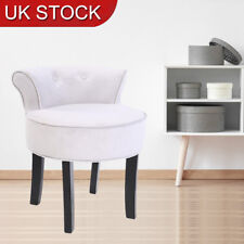 Retro Bedroom Dressing Table Stool Chenille Vanity Tub Chair with Black Legs