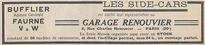 Y5898 Sidecars Bufflier - Advertising D'Epoca - 1931 Old Advertising