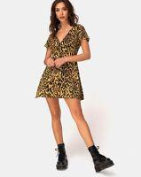 Elara Tea Dress in Leopard by Motel Size XS