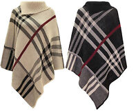 Ladies warm High neck Tartan Poncho women Knitted Wrap Cape Shawl Plus size 8-26