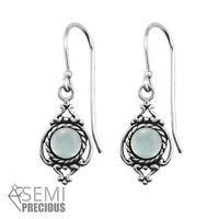 925 Sterling Silver Ornate with Chalcedony Gemstone Drop/Dangle Earrings