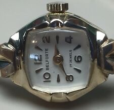 Belforte Wind Up Mechanical Ladies Vintage Watch10K RGP Bezel 17 Jewels Swiss