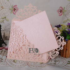 12 PCS Beige Pink Laser Cut Wedding Invitation Cards Blank Inner Birthday Party