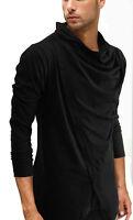 New Men Black COWL NECK LOnG sleeve Shirt top tee casual Fashion S M L XL