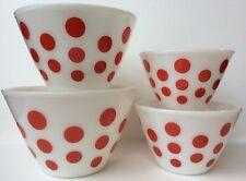 Fire King Red Polka Dot Mixing Bowls Set Of 4 Nesting Vtg Splash Proof Milk