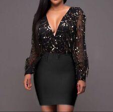 Sexy Beautiful Black Sequin See Through Top Bodycon Dress Black Skirt