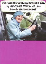 Old Lady Behind Steering Wheel Funny Recycled Paper Greetings Birthday Card