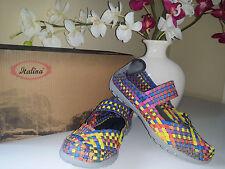 ITALINA Ladies Bronze Multi Woven Elastic Mary Jane Comfort Padding Shoes Sz.7
