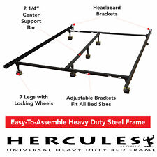 King Size Metal Bed Frame Adjustable to Twin Full Queen Size Box Spring Mattress