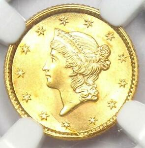 1853 Liberty Gold Dollar Coin G$1 - Certified NGC Uncirculated Details (UNC MS)
