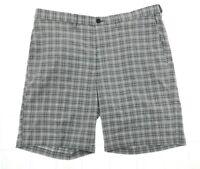 Haggar Mens Dark Gray Mini Plaid Expandable Waist Shorts Casual MSRP $55