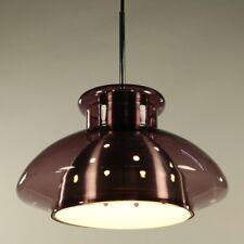 Doria Hänge Lampe Aubergine Glas Pendel Leuchte Innenreflektor Vintage 60er 70er