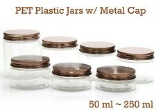Empty PET Plastic Jars - Clear Jars and Bronze Metal Screw Caps Lids 50ml-250ml