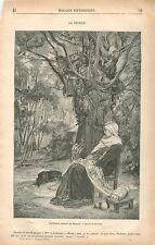 La rêverie femme Brodeuse Chien Bois par Albert Maignan GRAVURE OLD PRINT 1876