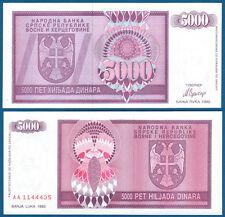 BOSNIEN H. / BOSNIA H. 5000 Dinara 1992 UNC P.138