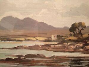 VINTAGE OIL PAINTING ON BOARD IRISH ARTIST CHARLES CALDWELL TRANQUIL COASTLINE